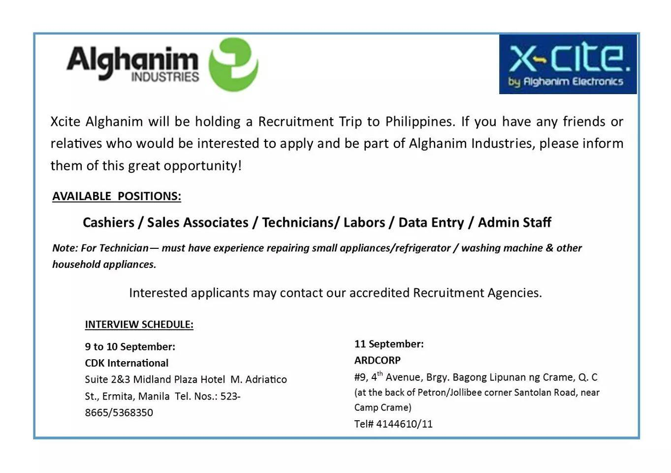 JOB HIRING ] XCITE ALGHANIM WILL BE HOLDING RECRUITMENT TRIP TO